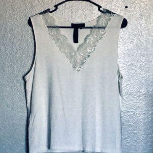 Lauren Ralph Lauren Ivory Lace V-Neck Tank Top  L